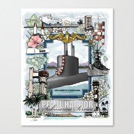 USS North Carolina - Pearl Harbor Submarine Service (Gold Dolphins) Canvas Print