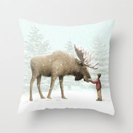 Winter Moose Throw Pillow