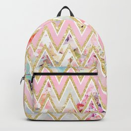 Pastel watercolor floral pink gold chevron pattern Backpack