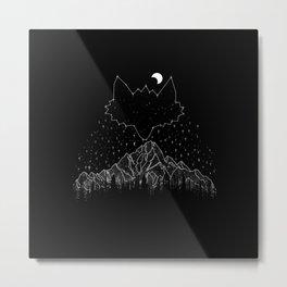 Mountains Fox Metal Print