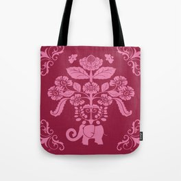Elephants in my Garden in Berry and Pink Tote Bag