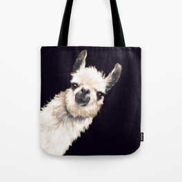 Sneaky Llama in Black Tote Bag