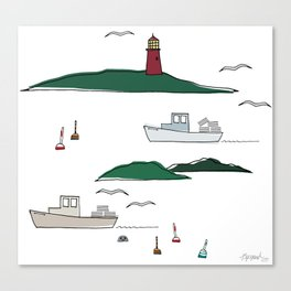 Lobstering in the Harbor Canvas Print