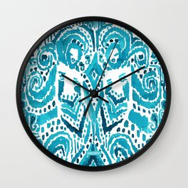 #MERMLIFE Blue Ikat Watercolor Mermaids Wall Clock