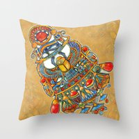 egypt Throw Pillows featuring Egypt - painting by oxana zaika