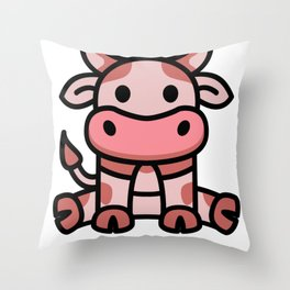 Cow Strawberry Cutie Pink Kawaii Farm Animals Lover Gift Throw Pillow