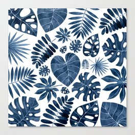 Blue tropical palm leaves Canvas Print