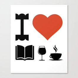Funny Coffee Books and Wine Lover Novelty print Canvas Print