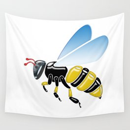 Three Dimensional 3D shiny Yellow and Black Bumble Bee Wall Tapestry