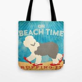 Beach Time Sheepdog by Stephen Fowler Tote Bag