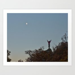 Victory pose on a moonlit mountain top….last moments of sundown in Castle Rock Art Print