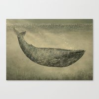 damask Canvas Prints featuring Damask Whale  by Terry Fan