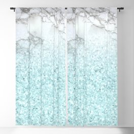 Pretty Turquoise Sparkles on Gray and White Marble Blackout Curtain