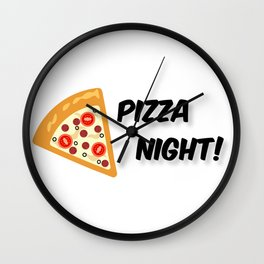 Our Pizza Night (in Black) Wall Clock