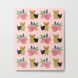 Yorkshire Terrier yorkie florals cute dog art breed pet portrait animal fur baby pattern dogs pets Metal Print