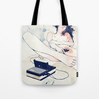 boat Tote Bags featuring Nothing to say by Anton Marrast