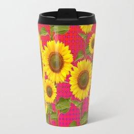 BROWN SUNFLOWER FIELD SAFFRON GRAPHIC ART Travel Mug