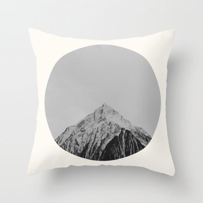 Mid Century Modern Round Circle Photo Grey Minimalist Monochrome Snow Mountain Peak Throw Pillow