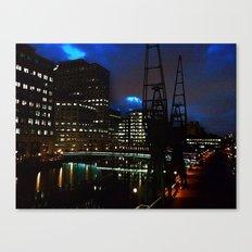 Canary Wharf at night Canvas Print