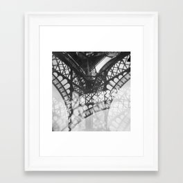 Eiffel Tower Double Exposure Black and White Framed Art Print