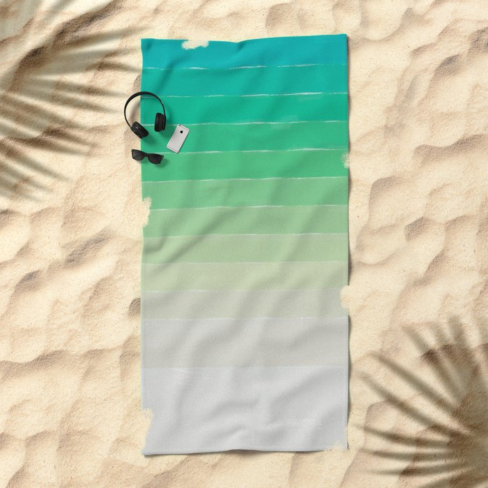 Shades of Ocean Water - Abstract Geometric Line Gradient Pattern between See Green and White Beach Towel