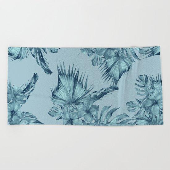 Hawaiian Blue Teal Island Pattern Beach Towel