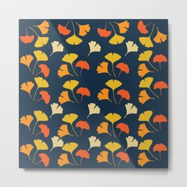 Colorful Ginkgo Leaves Pattern Blue Background Metal Print
