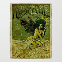 Vintage Parisian Green Fairy Absinthe Advertisement Poster
