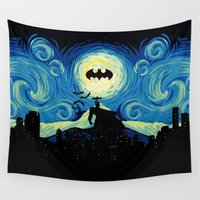 gotham Wall Tapestries featuring Starry Knight Gotham City by DavinciArt