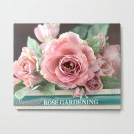 Roses Pink Peach Romantic Rose Flowers Gardening Decor Metal Print