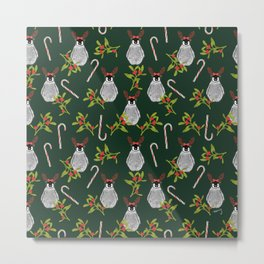 Christmas Penguin Pattern  Forest Green Metal Print