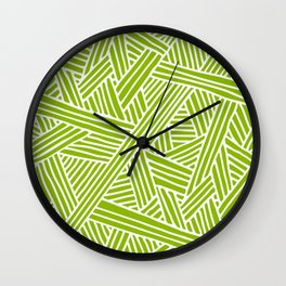 Abstract apple green & white Lines and Triangles Pattern- Mix and Match with Simplicity of Life Wall Clock
