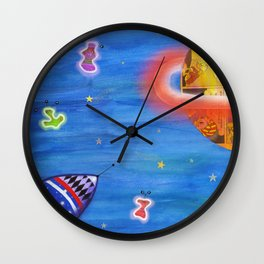 Space Rocket Planet Aliens and Shooting Stars Wall Clock