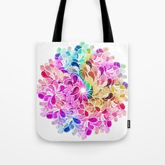 Rainbow Watercolor Paisley Floral Tote Bag
