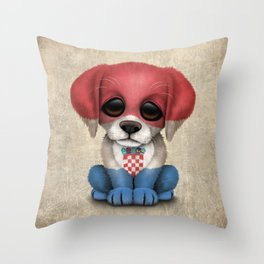 Cute Puppy Dog with flag of Croatia Throw Pillow