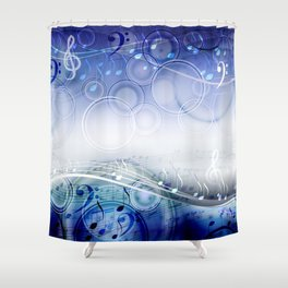 Abstract sheet music design background with musical notes Shower Curtain