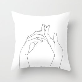 Hands line drawing illustration - Abi Throw Pillow