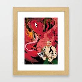 Barbarian v Red Dragon Framed Art Print