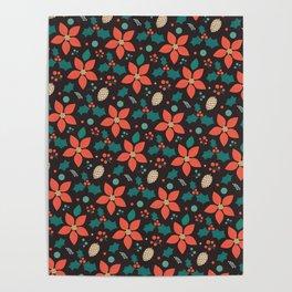 Deck the Halls - Black Background (Patterns Please) Poster