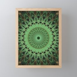 Green glowing mandala Framed Mini Art Print