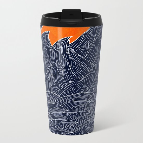 The White Waves Metal Travel Mug
