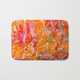Abstract with Circle in Gold, Red, and Blue Bath Mat