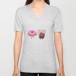 Coffee and doughnut kawaii cartoon Unisex V-Neck