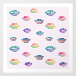 Watercolor lips on pink background Art Print