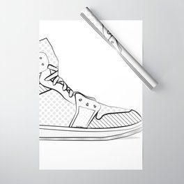 sneaker illustration pop art drawing - black and white graphic Wrapping Paper