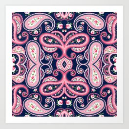 Bright Colored Pink and Blue Paisley Pattern Art Print