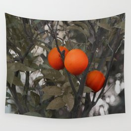 Three oranges on an orange tree Wall Tapestry
