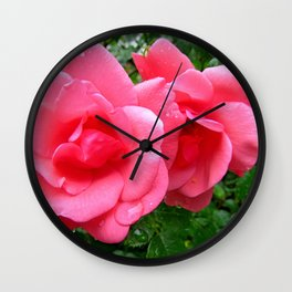 roses after rain Wall Clock