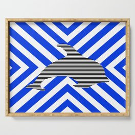 Dolphin - abstract geometric pattern - blue and white. Serving Tray
