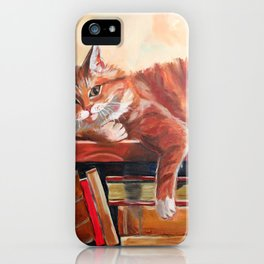 Red cat on a bookshelf iPhone Case